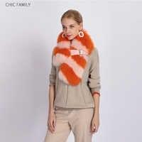 Echte fox fur shawl orange kleur dikke riem streep echt vossenbont sjaal customerized multicolor bont pashmina vrouwelijke furr sjaals