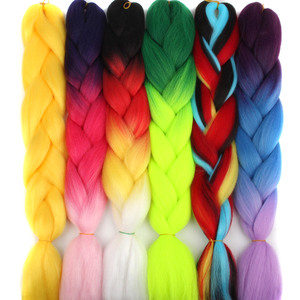 105 Color 24 Inch Afro Ombre Braiding Pre Stretched For Box Twist Wholesale Synthetic Jumbo Crochet Hair Extension For Braids(China)