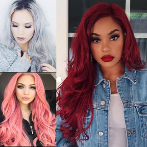 Image 5 - AISI QUEENS Long Wavy Synthetic Wig Red Wig for Women Cosplay Black Pink Wigs Partial Division Natural High Temperature Fiber