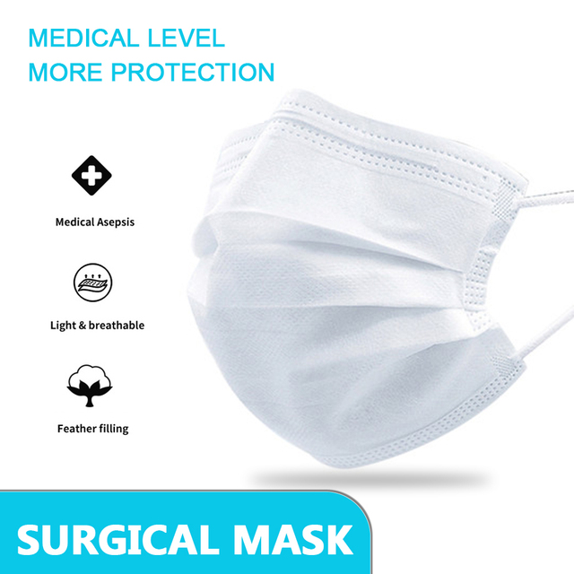 50/100pcs Disposable Face Mouth Mask Anti Virus Medical Mask 3 Layer Non-woven Bacteria Proof Flu Facial Safety Masks 1
