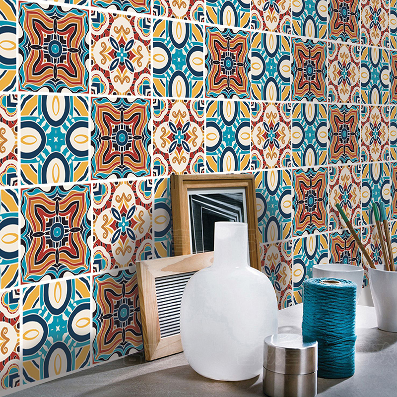Simanfei 6Pcs Floor Tile Stickers Waterproof Kitchen Bathroom Background Decoration Creative Self adhesive Wall Paper Stickers in Wall Stickers from Home Garden