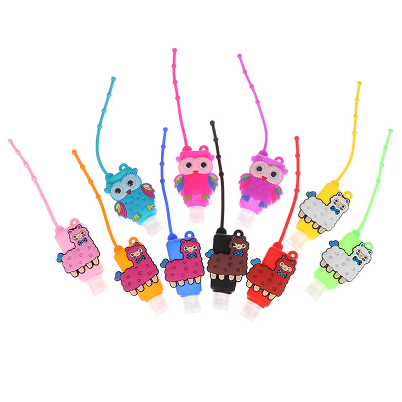 30ML Embossed Cute Cartoon Owl Shape Silicone Mini Hand Sanitizer Disposable No Clean Detachable Cover Travel Portable Safe Gel
