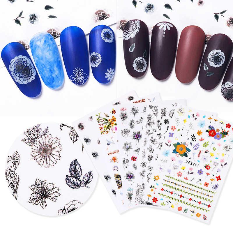1 แผ่น 3D สติกเกอร์เล็บ Vintage สไตล์ดอกไม้ที่มีสีสันรูปแบบผสม BAIL สติกเกอร์สำหรับ DIY Nail Art Design ตกแต่ง