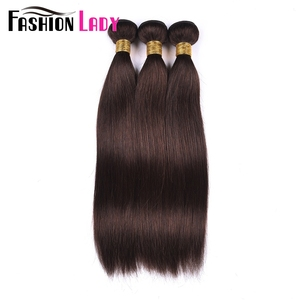 Image 1 - Fashion Lady Pre Colored Brazilian Hair Straight Hair Bundles 3/4 Bundles Dark Brown Color #2 Human Hair Extensions Non Remy