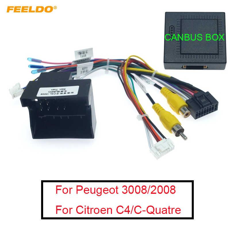 Arnés de cableado estéreo FEELDO de 16 pines para coche Android para Peugeot 3008/2008/Citroen C4/c-quatre/C4L/C3 XR/C5/DS6 #6226