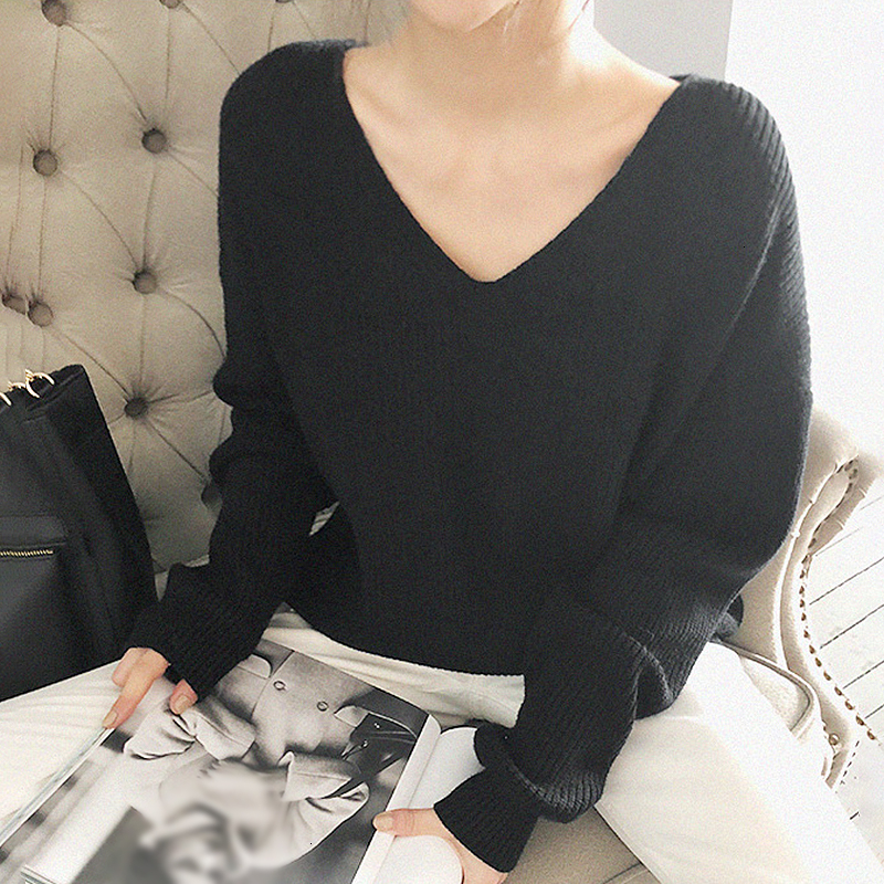 Image 5 - TWOTWINSTYLE Knited Korean Autumn Sweater For Women V Neck Long 