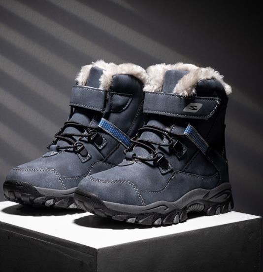 Kids PU Leather Waterproof Hiking Boot Winter Warm Cotton Plush Children Short Boots Lace Up Non Slip Teenage Ankle Boots 28-41