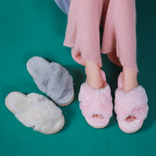 BEVERGREEN Women Fur Slippers Chic Cross Band 3cm Heel Soft Plush Indoor Ladies Platform Shoes Open Toe Fluffy House Slippers