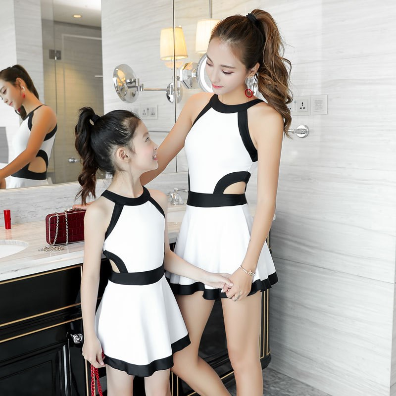 Girl'S Swimsuit GIRL'S Small CHILDREN'S Baby CHILDREN'S Cute South Korea One-piece Princess Dress Children Mother And Child Pare