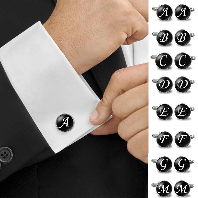 1 Pair Cufflink Men's A-Z Single Alphabet Cufflinks Silver Color Letter Cuff Button for Male Gentleman Shirt Wedding Cuff Links