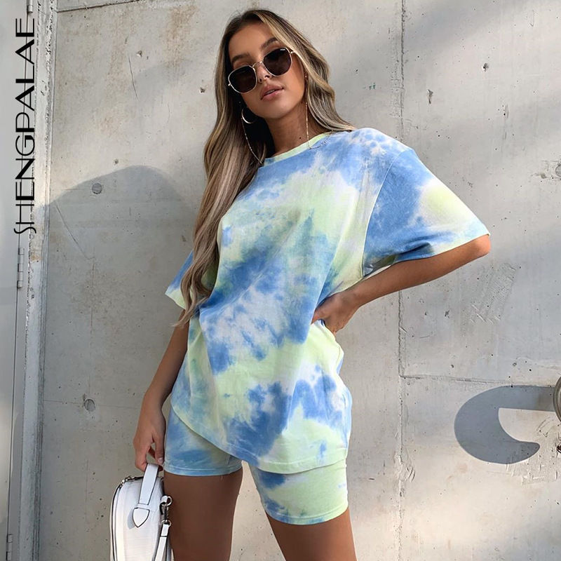 SHENGPALAE 2020 New Summer Fashion Women's Tie-dyed Colorful Loose Slim Casual T-shirt Short Suit ZA4396
