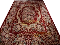 Niestandardowy dywanik samochodowy wełna francuski dywan o ręcznie tkanym grubym pluszowym dywaniku Savonnerie 6.56 'x 9.84' w Dywany od Dom i ogród na