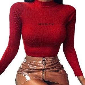 Женский зимний свитер с высоким воротником и буквенным принтом, тонкий свитер с длинными рукавами, Однотонный свитер