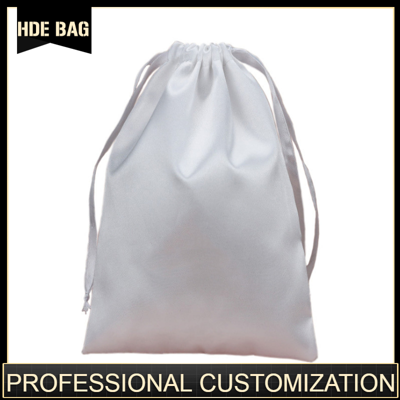 Custom Logo And Size Satin Hair Bags Ribbon Drawstring Silk Hair Extension Packaging Bags Pouches Shoes Cloth Storage Bag