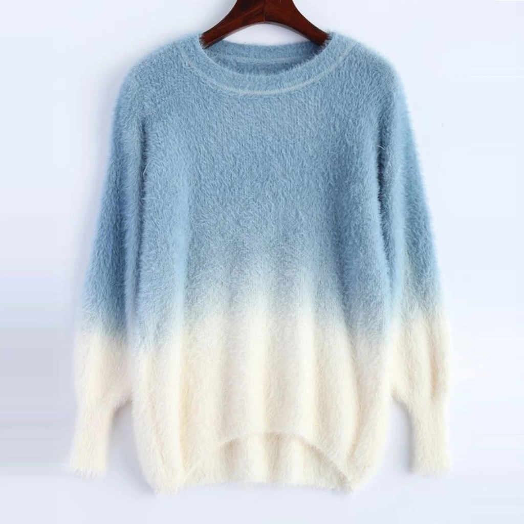 Fashion Womens Winter Sweater Round-Neck Long Sleeve Loose Sweater Pullover Tops Casual Gradient Fluffy Sweater B