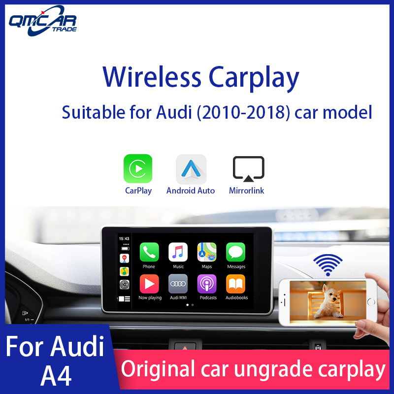 QMCAR Wireless Apple CarPlay for Audi A4 2010-2018 Android Auto /Car play Support Airplay/HDMI Display/ Multimedia player image