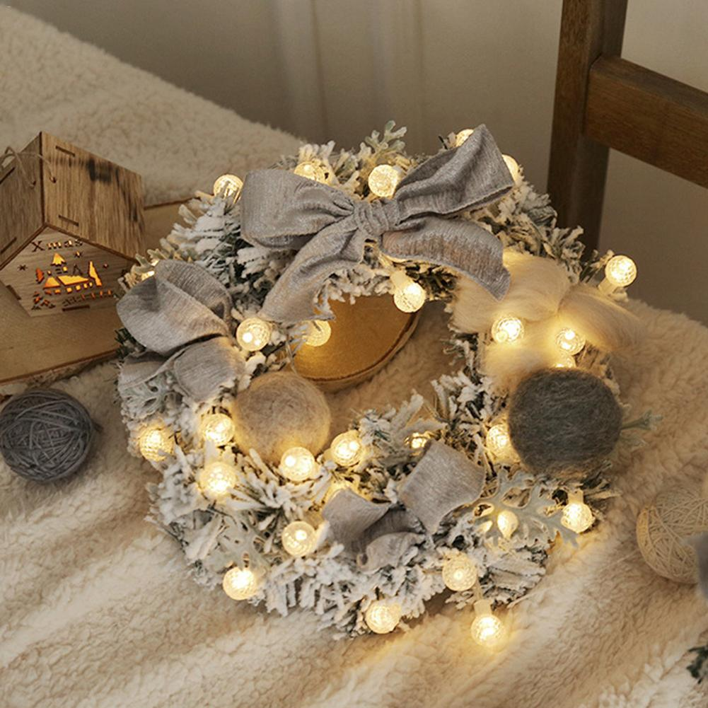 Christmas Artificial Rattan Flower Wreath Door Hanging Wreath Wall Decoration With String Light For Home Festival Party