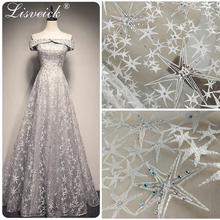 High grade 1yard Hot drilling beaded embroidery star flower lace fabric,DIY wedding dress fabric ,3D Embroidered