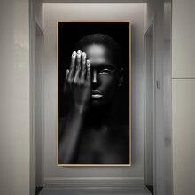 Черная девушка с серебряными губами холст картины африканская