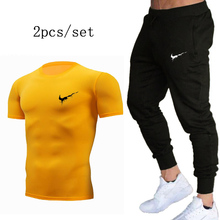 Summer new gyms Sport Suit Quick Dry Sports Suits Tight Tracksuits Mens Summer Autumn Fitness Running suits Jogging set 2019 sport suits women jumpsuit sporting yoga set suits for fitness jogging girl running tracksuits exercise tight suits wear 013