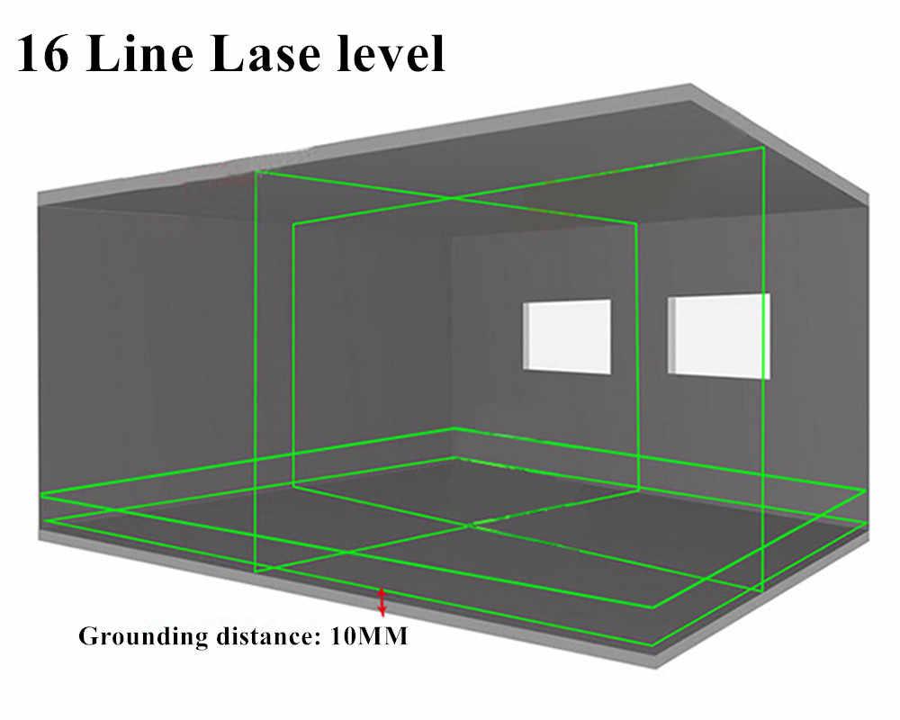 Yeni Fukuda profesyonel 16 hattı 4D lazer seviyesi japonya keskin 515NM ışın 360 dikey ve yatay kendinden tesviye çapraz
