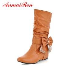 ANMAIRON kadın İlkbahar sonbahar papyon daireler yarım çizmeler kadın ayakkabıları kadın orta buzağı renk beyaz ayakkabı çizmeler büyük boy 47 botları