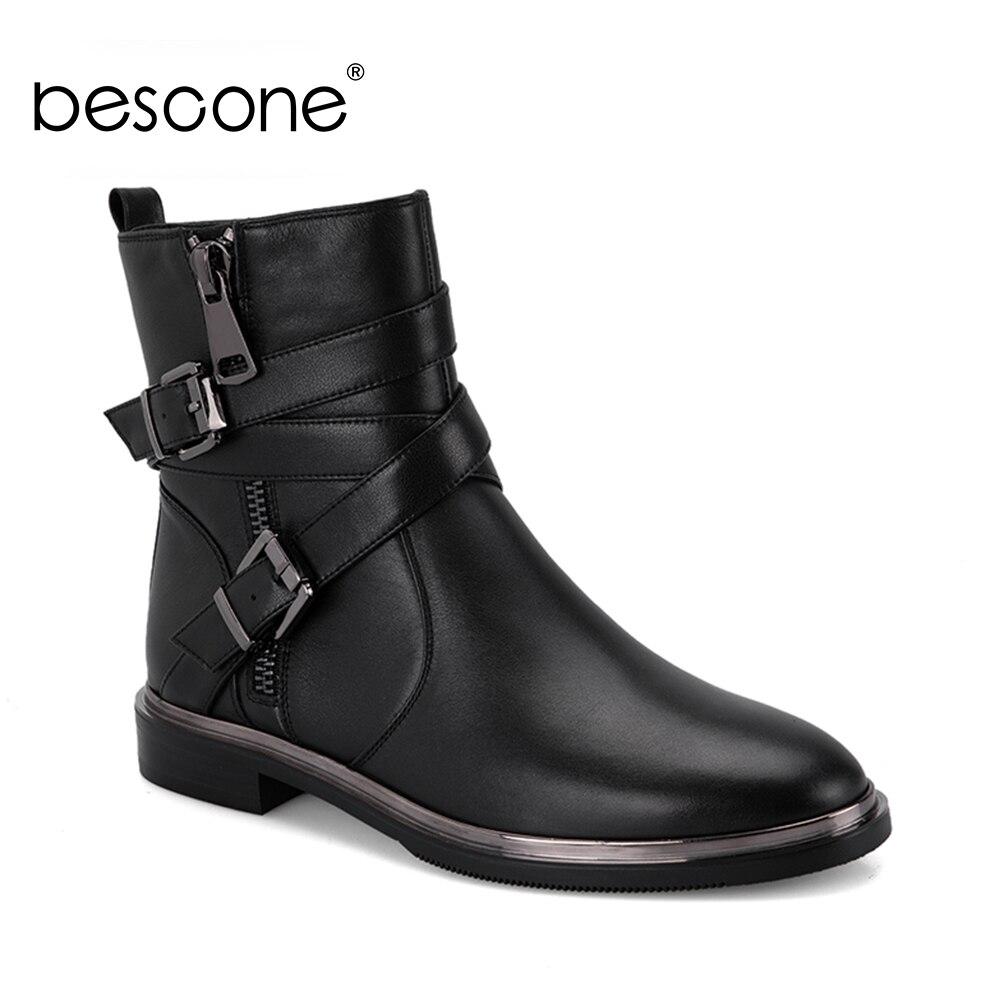BESCONE nouvelle femme Chelsea bottines décontracté à la main en cuir véritable bout rond chaussures mode boucle talon carré dame bottes M2