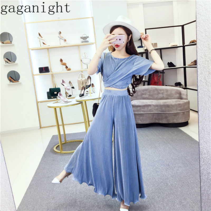 Gaganight Fashion Women Two Pieces Set Short Criss Cross Bow Bandage Crop Tops T Shirt Chic Ruffles Long Wide Leg Pants Ladies
