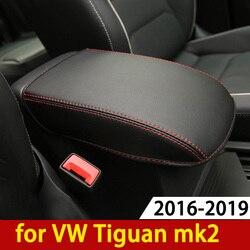 Подлокотник для Volkswagen VW Tiguan mk2 2016 2017 2018 2019, консоль, Подушка-накладка, опорная коробка с подлокотником сверху, коврик, подкладка, Стайлинг авт...