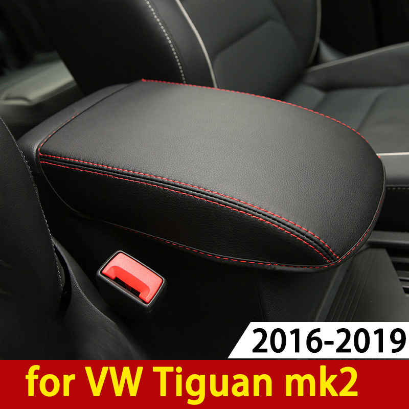 For Volkswagen VW Tiguan Mk2 2016 2017 2018 2019 Armrest Console Pad Cover Cushion Support Box Armrest Top Mat Liner Car Styling