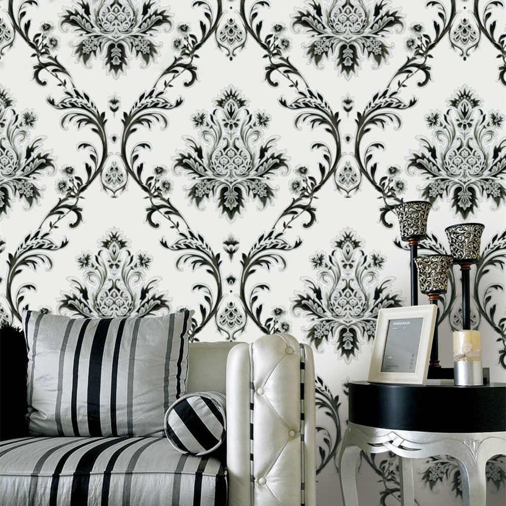 ヨーロッパレトロシンプルな壁紙ダイヤモンド黒と白 茶色ダマスカス大