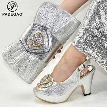 2020 New Design Silver Matching Shoes and Bag Set In Heels Matching Shoes and Bag Set for Italian Party African Shoes and Bag