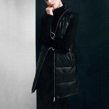 Malina Black Hooded Vests Women Fashion Zipper PU Leather Coats Women Elegant Long A Line Vests Female Ladies JS