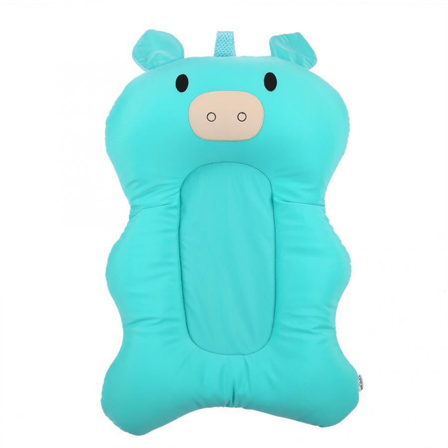 Мягкий коврик для ванной для новорожденного малыша, нескользящий коврик для ванной, подушка для ванной, надувная подушка - Цвет: Blue Pig