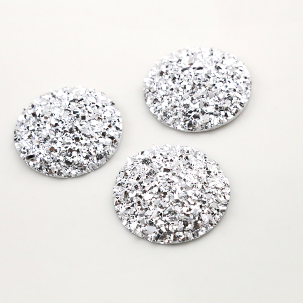 New Fashion 10pcs 25mm Silver Colors Natural Ore Style Flat Back Resin Cabochons For Cameo Base Accessories-Z4-17