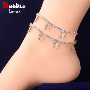 Anklets Jewelry Tennis-Chain Butterfly Pendant Feet Adjustable Women with 4mm 1-Row Hip-Hop