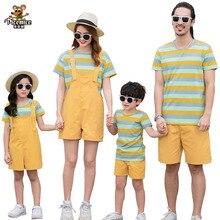 Family Matching Summer Outfits T-Shirts Short-Pants Girl-Set Boy Overalls Men Women