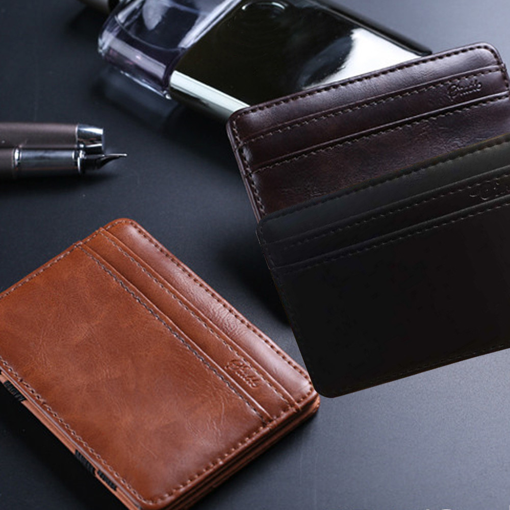 Fashion  Mini Leather Wallet Wallet Business ID Credit Card Holder Male Small Wallet  Wallets For Men #30