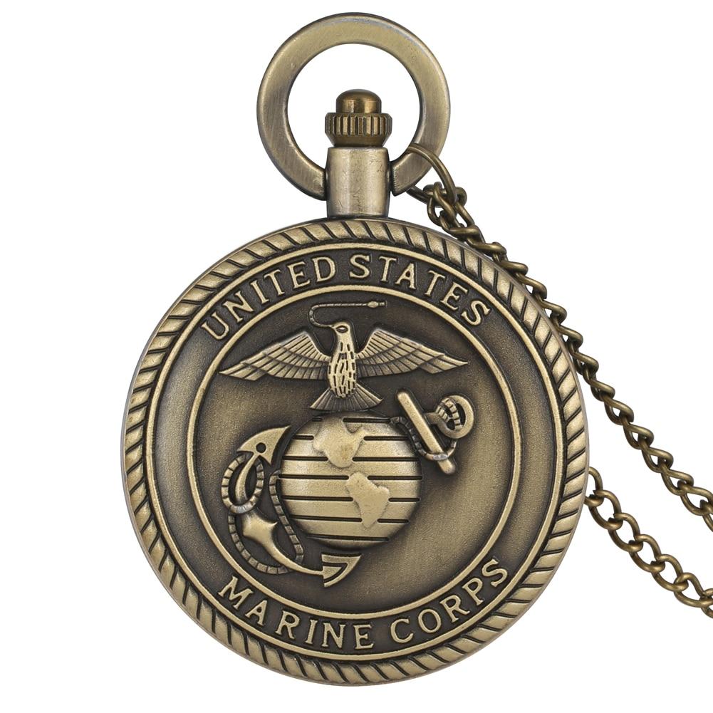 Vintage Pocket Quartz Watch United States Marine Corps Steampunk Bronze Necklace Pendant Watches Men Women Gift Relogio De Bolso
