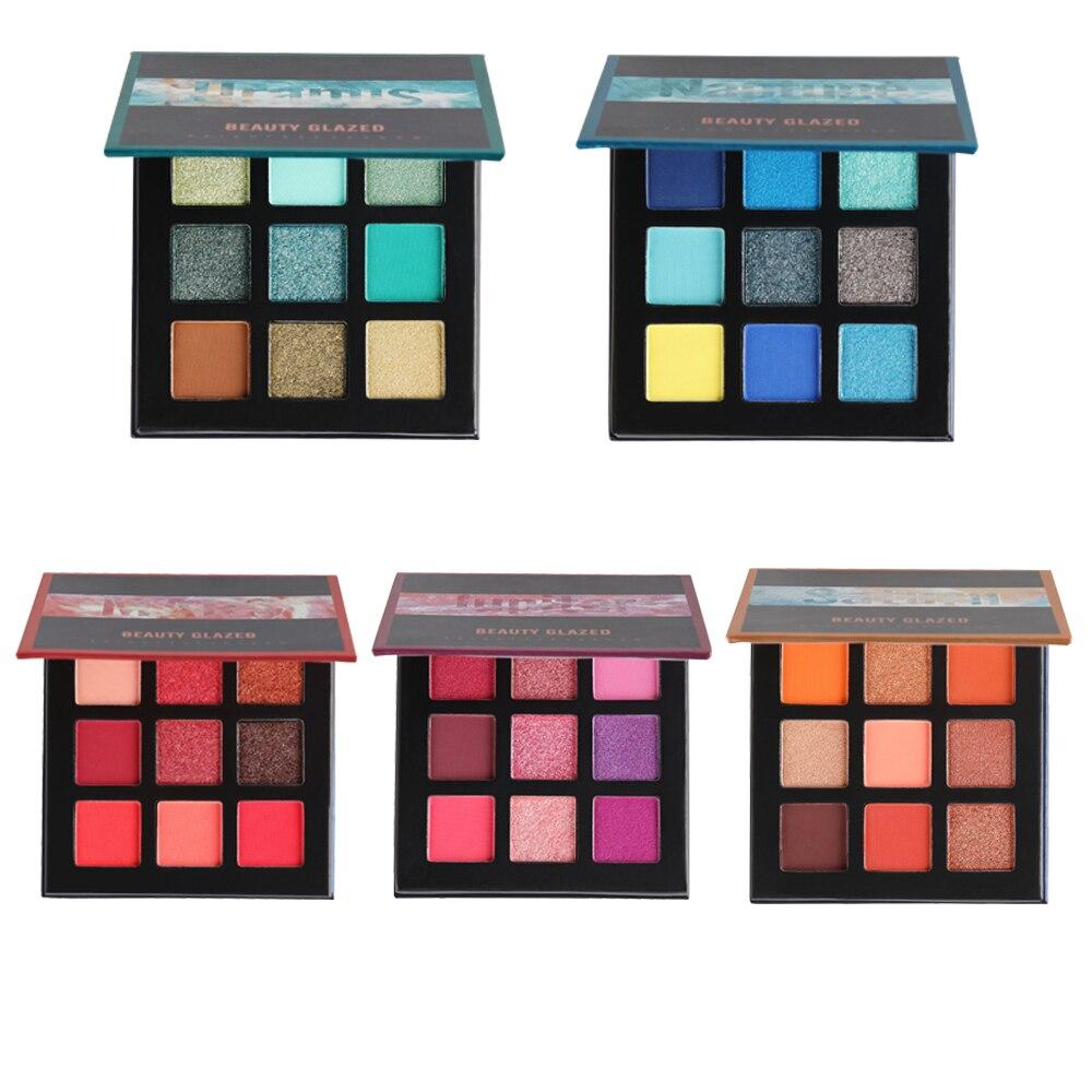 9 цветов, бриллиантовые тени для век, натуральный матовый мерцающий и сияющий, косметический пигмент TSLM2