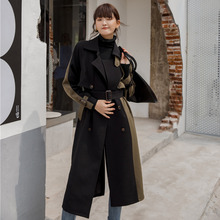 LANMREM 2020 Mid-length Windbreaker Female Spring Female New Korean Version Double-breasted Slim Thick Coat 19B-a373 cheap Full WOMEN Fleece Formal COTTON Trench Button Patchwork Long Turn-down Collar Double Breasted Bat Sleeved