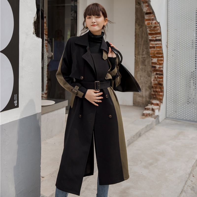 LANMREM 2020 Mid-length Windbreaker Female Spring Female New Korean Version Double-breasted Slim Thick Coat 19B-a373