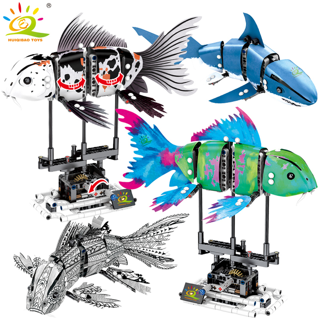 HUIQIBAO 342Pcs Simulated Animal Fish DIY Model Building Blocks Sets Technic Ideas City Bricks Educational Toys for Children Boy