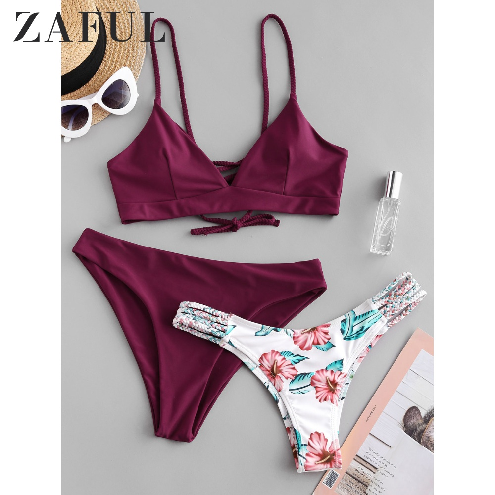 ZAFUL Sexy Plum Pie Flower Braided Lattice Three Pieces Bikini Swimsuit For Women Wire Free Spaghetti Straps Padded Swimwear