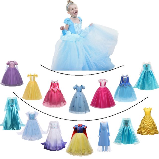Girls Princess Dress for Kids Cosplay Costume Halloween Party Dresses Role-play Clothes Girls Vestidos Clothing 1