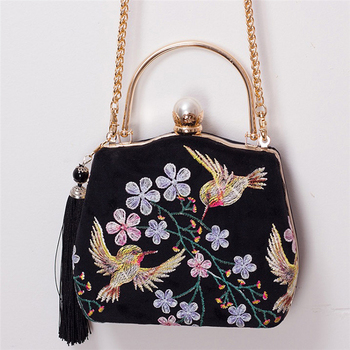 Women Totes Lace Shoulder Bags Black Velour Embroidery Women Pearl Lolita Handbags 2020 New Ladies Fashion Autumn Crossbody Bags