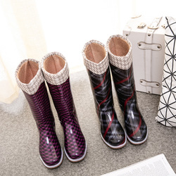 Swyivy Rianboots Women High Boots Winter Warm Waterproof Shoes for Rain 2020 New Tall Rain Boots with Sock Women Pvc Boots