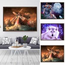 new 30 x25cm Wolf Tiger Windmill Cross Stitch DIY Diamond Painting Embroidery Home Room Wall Decor Craft