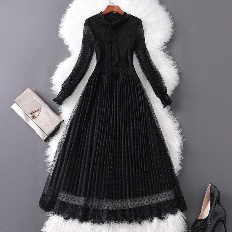 Women polka dot long sleeve black mesh dress gothic style bow collar stretch a-line elegant midi dresses 2019 autumn
