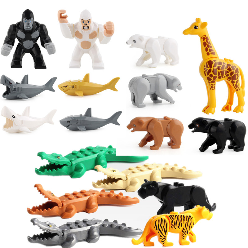 New Classic Building Bricks DIY Juguetes Bloques Compatible Mini Whale Farm City Animals Zoo Blocks Toys for Kids Fit Baseplate